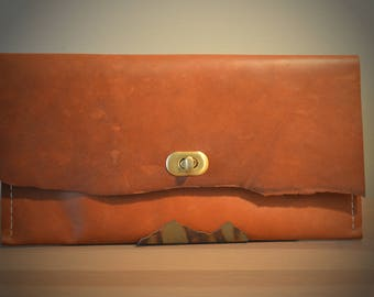 Horween Leather Clutch with Brass Clasp and Raw Edge - E