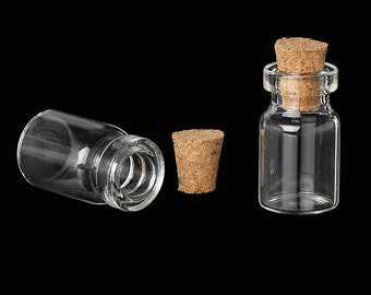 10 Mini Glass Bottles with Stoppers 28mm x 14mm - Z075
