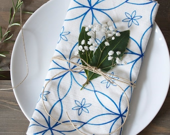 Blue Linen Union Daisy Napkins - Set of 2