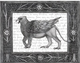 8x10 Giclee Illustrated Print of Griffin Mythological Beast