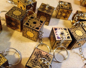 """Keychain - Lament Configuration mini box - 3"""" total length includes ring and chain"""