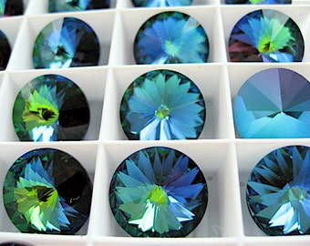 4 Crystal Green Sphinx Swarovski  Rivoli Stone 1122 14mm