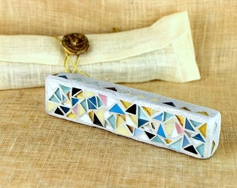 """Colorful Mezuzah Case, Jewish Housewarming Gift, Jewish wedding, Jewish art, Judaica art, mezuzah for a 4.7"""" Jewish home blessing scroll"""