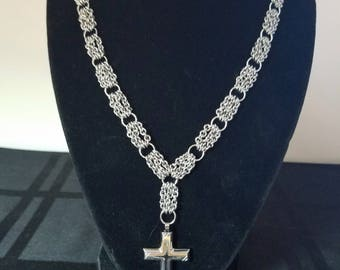 Chainmaille Stainless Steel Cross Necklace