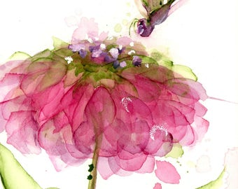 Moderne botanische kunst Print, Art bloemenprint, 12 x 16 bloem en Dragonfly