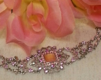 Victorian Inspired Choker, *FREE SHIIPPING* Pinks, Rhinestones, Art Nouveau High Fashion, Stainless Steel Chain, Wedding, Bridal