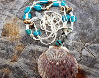 Shell hemp beaded necklace