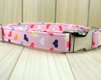 Valentines Dog Collar with Metal Side Release Buckle | Multi Colored Hearts Dog Collar | Girl Dog Collar | Unique Dog Collar