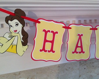 BELLE Beauty and the Beast Princess Disney Happy Birthday Banner