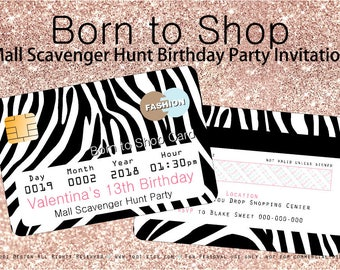 Born to Shop Invitation and shopping bag envelope Printable - Mall Scavenger Hunt Party