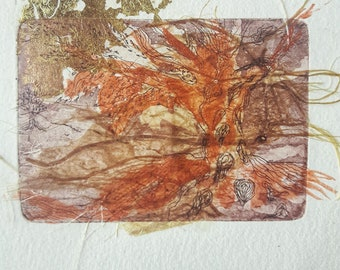 Golden tree, Original, Monotype, One of a kind.home decoration