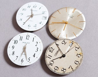 Set of 4 Vintage watch movements, watch parts, watch faces, cases (5)