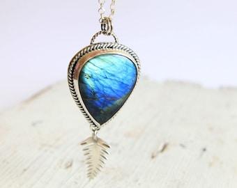 Labradorite Leaf Necklace, Blue Stone, Sterling Silver, Labradorite Pendant, Silversmith Necklace, Metalsmith Jewelry, Boho Pendant