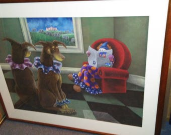 Framed, original oil pastel painting created by Sheila Bohanon