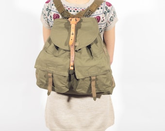 1970's Canvas Backpack, Military Rucksack, Old Army Backpack, Army Hiking Backpack