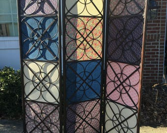 SOLD —- Trifold tri-fold screen Room Divider very Pretty made of Iron