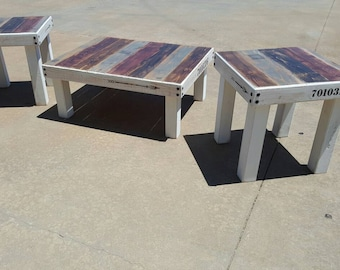 Farmhouse coffee table and 2 matching end tables -  living room furniture - rustic furniture - trending - popular items