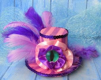 Mini top hat, Cheshire Cat Headband Fascinator, Alice in Wonderland Party, Mad Hatter Tea Party Hat, Pink Purple mini top hat, Woman hat