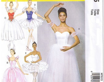 Ballet Ballerina Dance Costume Gathered Full Skirt Tutu Boned Bodice Sleeve Variations McCalls 7615 Sewing Pattern Size 6 8 10 12 14