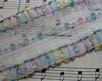 Fabulous Vintage 1950s Wide Nylon, Embroidered Trim,  2+ Yards, Pink, Blue, Ruffled on Both Sides