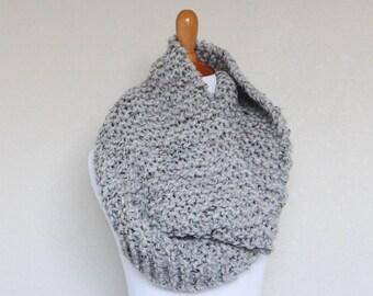 READY TO SHIP - Chunky Knit Cowl, Chunky Knit Scarf, Grey Marble, Nitrogen Cowl