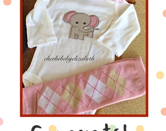 Baby Elephant coming home outfit, Newborn baby girl sweet elephant outfit, onesie, hat, leg warmers, hospital hat, shower gift