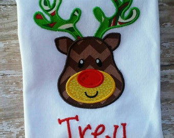 Boys Christmas shirt-Reindeer shirt-personalized-red and green-Santa pictures-embroidered-