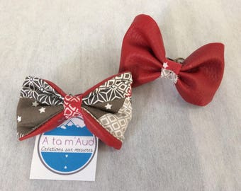 Bracelet adjustable and reversible bow fabric and red.