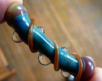 Handmade Lampwork Focal - Gorgeous Boro Curved Focal Tube Bead Glass - Playdate