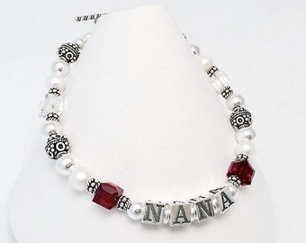 Birthstone NANA or Mother Bracelet - You choose the name(s) and birthmonth(s)
