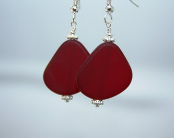 Red Sea Glass Earrings Seaglass Earrings Sea Glass Jewelry Beach Glass Earrings Beach Glass Jewelry Beach Jewelry Seaglass Jewelry Ocean 070