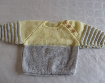 yellow and gray sweater with stripes 6 months