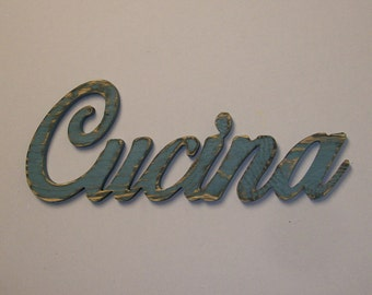 Cucina Sign Kitchen Decor Distressed Wood Diner