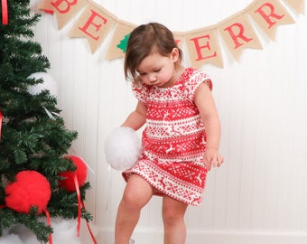 New! Girls Reindeer Flannel Dress - Red & White Stripes with Reindeer - Reindeer Flutter Sleeve Dress - Size 12m, 18m, 2T, 3T, 4, 5 or 6