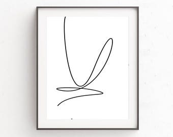Line Drawing Print, Minimalist Poster, Minimalist Art, Line Drawing, One Line Drawing, Black and White Art, Minimalist Print, Printable Art