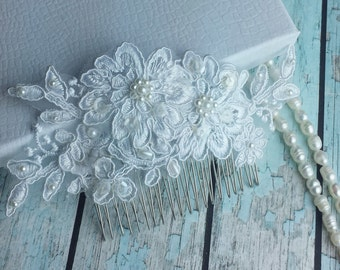 White Bridal Lace Wedding Comb ,Wedding Lace Hair Comb,Bridal Accessories