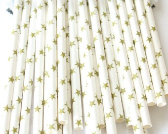 Gold stars paper straws-twinkle twinkle little star party, gold star paper straws, baby shower straws, wedding straws
