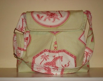 Pleated Hobo Bag , Kaufman fabric, Lt green, bag and purses, Shoulder strap