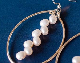 Pearl hoop earrings, bridesmaid pearl earrings, pearl jewelry, bridesmaid gift, pearl earrings bridesmaid, bridal, mermaid jewelry