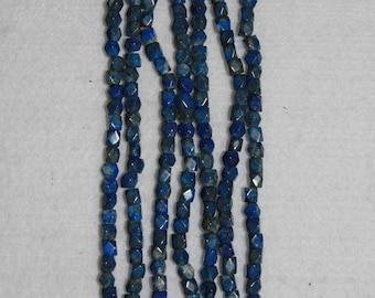Lapis, Lapis Cube, Faceted Cube Bead, Natural Stone, Semi Precious, Blue Cube Bead, Gemstone, Full Strand, 5 mm, AdrianasBeads
