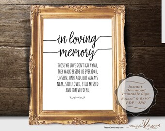 Instant download Printable In Loving Memory Sign, Wedding Memorial Table Sign, Memory Sign, Those We love Don't Go Away (TED410_6)