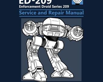"""LADIES FIT """"ED-209 Service and Repair Manual"""" Robocop T-shirt"""