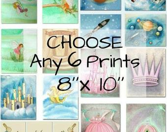 Choisissez 6 Art impressions 8'' x 10'' de ma boutique et faire votre propre jeu pour les enfants Nursery décor, Art mural, Nursery décor, tirages d'Art pour les enfants