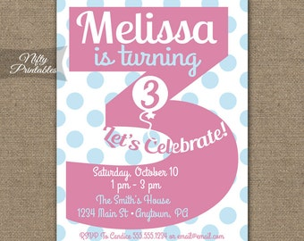 Third Birthday Invitations   3rd Birthday Invitations Printable Third Birthday Invitation