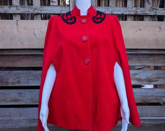 Vintage 1960's tailored thin wool fully lined red cape with three large buttons
