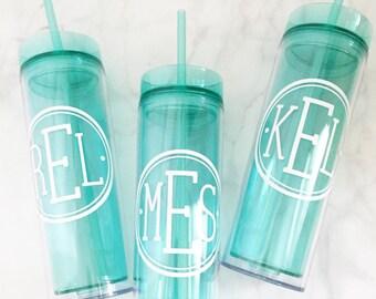 Personalized, Monogram, Skinny Tumbler, 16 oz. Acrylic, BPA Free, Personalized Cup