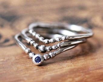 Stacking ring set white gold, stacking ring set of 3, blue sapphire stack ring sets, stack ring white gold, chevron stack band, custom gift