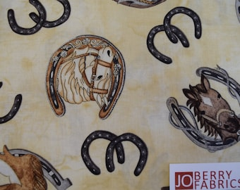 Horse Heads and Shoes from the Rodeo up Collection by Western Denim and Dirt for Blank Quilting.  Quilt or Craft Fabric, Fabric by the Yard.