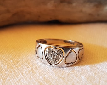 Brooks & Bentley White Gold Five Heart Ring