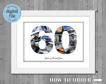 60th birthday photo gift 60th birthday number photo collage , 60th birthday gift ideas